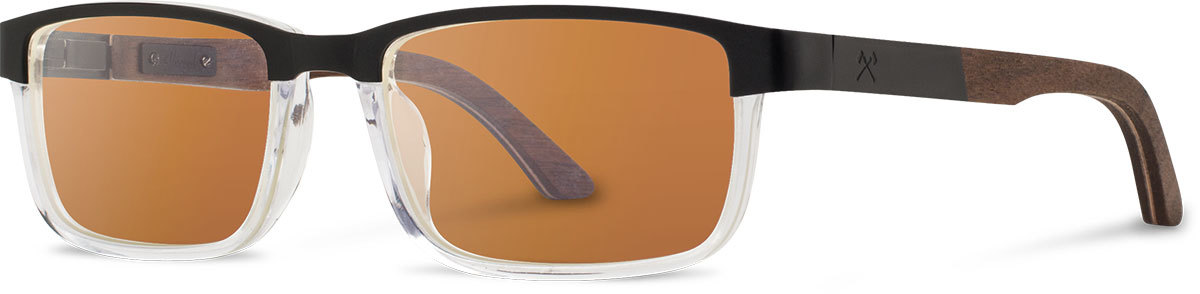 Shwood titanium wood acetate rx glasses fifty fifty fremont black walnut crystal brown polarized left s 2200x800