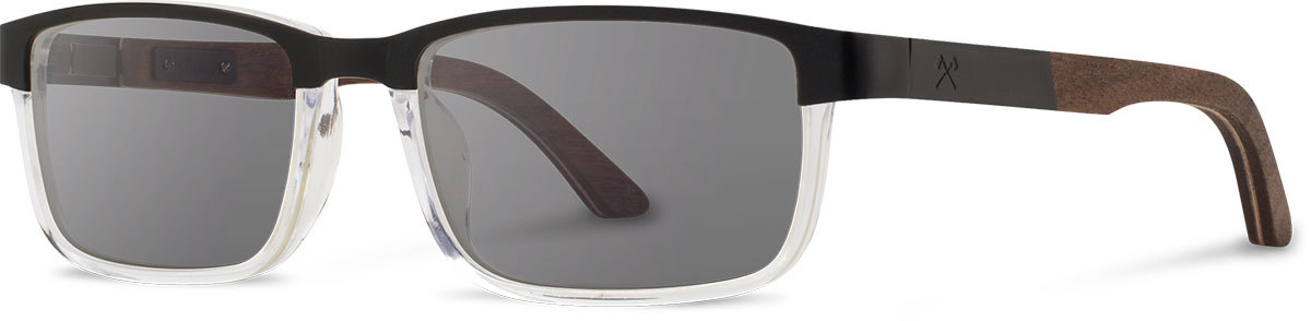 Shwood titanium wood acetate rx glasses fifty fifty fremont black walnut crystal grey polarized left s 2200x800