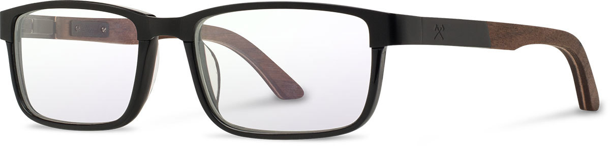 Shwood titanium wood acetate rx glasses fifty fifty fremont black walnut black left s 2200x800