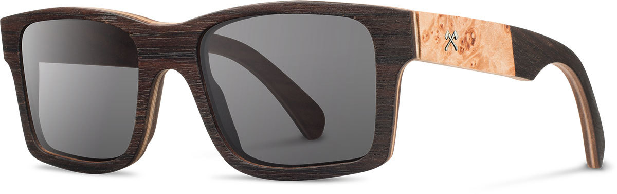 Shwood wooden sunglasses select haystack ebony maple burl grey polarized left s 2200x800