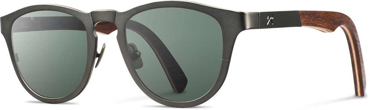 Shwood titanium wood sunglasses fifty fifty francis gunmetal walnut g15 polarized left s 2200x800