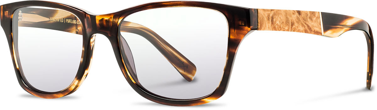 Shwood acetate wood prescription glasses fifty fifty canby tortoise maple burl left s 2200x800