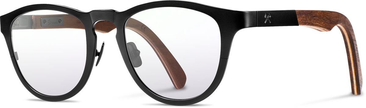Shwood titanium wood rx glasses fifty fifty francis black walnut left s 2200x800