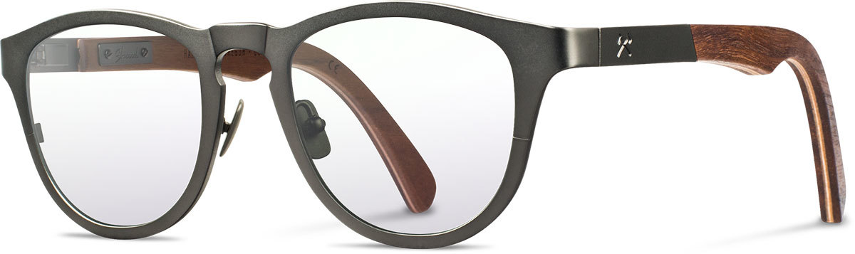 Shwood titanium wood rx glasses fifty fifty francis gunmetal walnut left s 2200x800