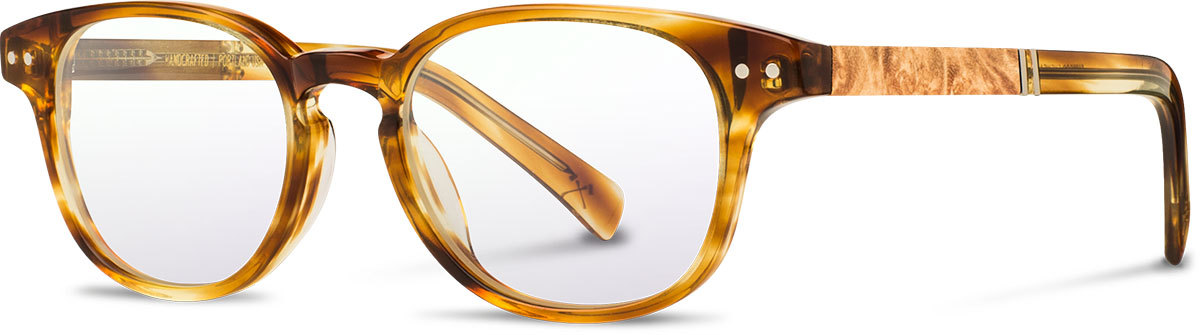 Shwood acetate wood prescription glasses quimby honey maple burl left s 2200x800