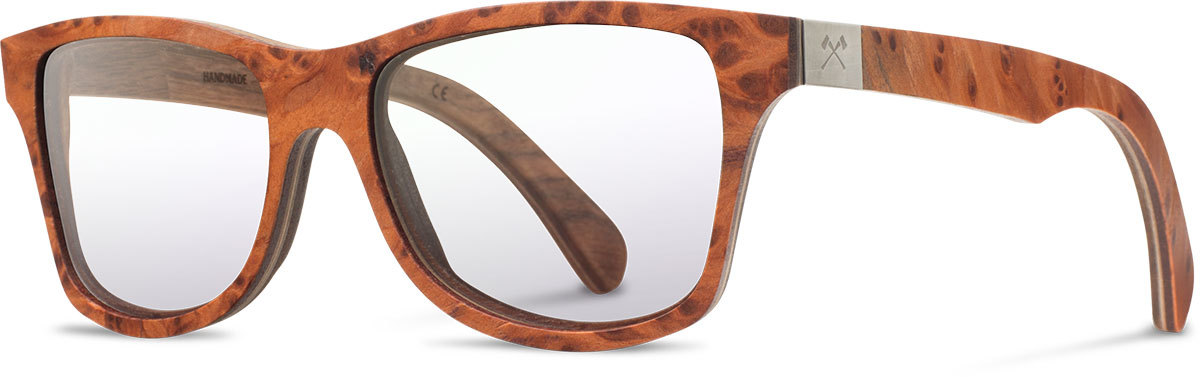 Shwood wood prescription glasses select canby redwood burl walnut left s 2200x800
