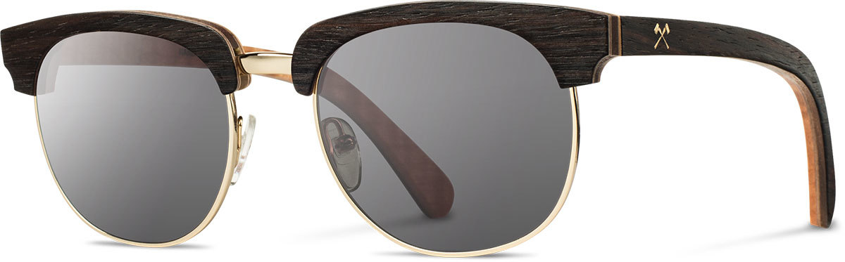 Shwood wood prescription glasses select eugene ebony quilted maple gold grey polarized left s 2200x800