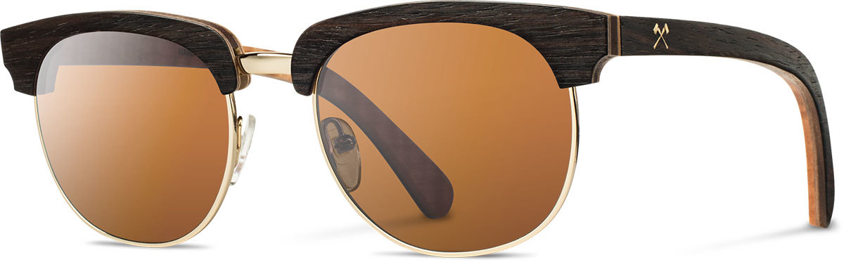 Shwood wood prescription glasses select eugene ebony quilted maple gold brown polarized left s 2200x800