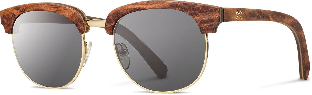 Shwood wood prescription glasses select eugene redwood burl gold grey polarized left s 2200x800