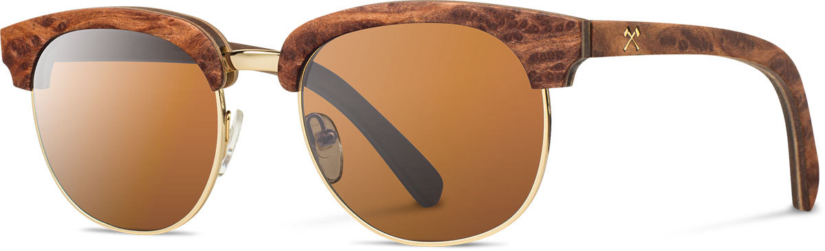Shwood wood prescription glasses select eugene redwood burl gold brown polarized left s 2200x800