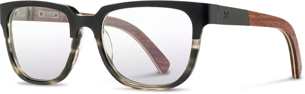 Shwood titanium wood acetate prescription glasses fifty fifty prescott black walnut pearl grey left s 2200x800