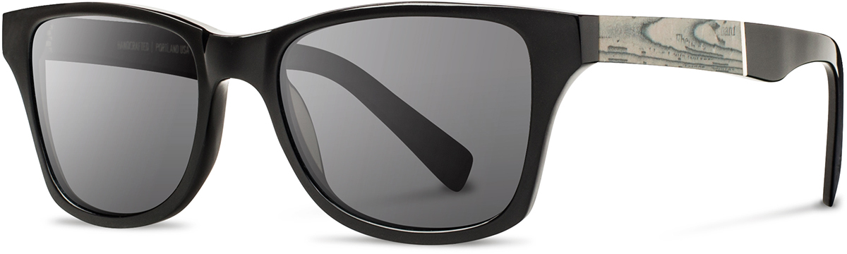 Shwood acetate newspaper sunglasses fifty fifty canby black paper grey polarized left s 2200x800