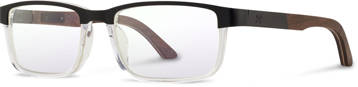 Shwood titanium wood acetate rx glasses fifty fifty fremont black walnut clear left s 2200x800