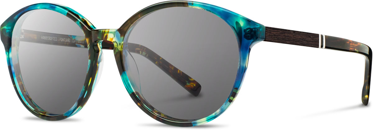 Shwood acetate wood womens sunglasses fifty fifty bailey blue opal ebony grey left s 2200x800