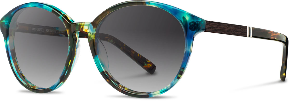 Shwood acetate wood womens sunglasses fifty fifty bailey blue opal ebony grey fade polarized left s 2200x800
