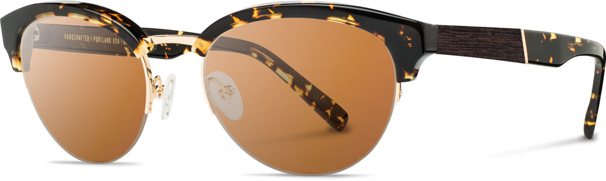Shwood acetate wood womens sunglasses fifty fifty hayden dark speckle gold ebony brown polarized left s 2200x800