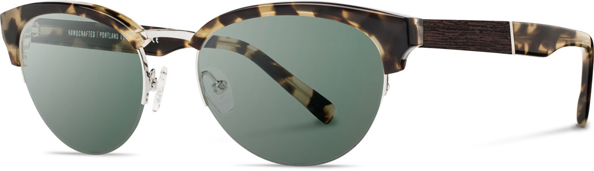 Shwood acetate wood womens sunglasses fifty fifty hayden vintage tortoise silver ebony g15 polarized left s 2200x800