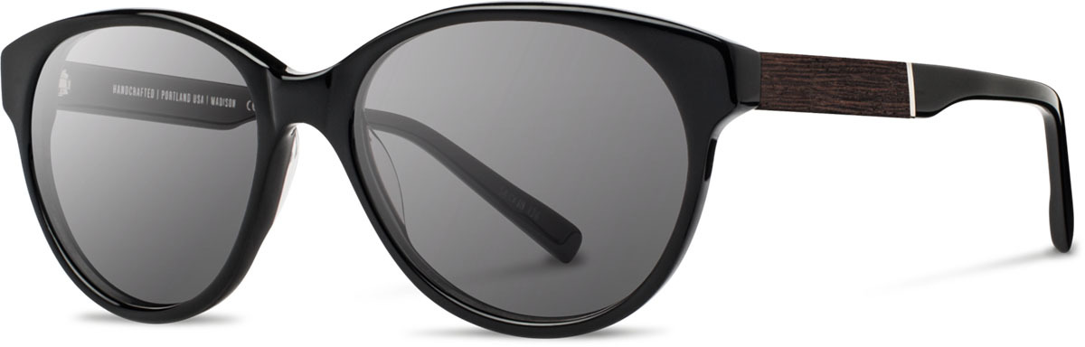 Shwood acetate wood womens sunglasses fifty fifty madison black ebony grey left s 2200x800