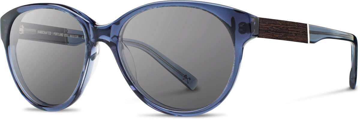 Shwood acetate wood womens sunglasses fifty fifty madison blue crystal ebony grey left s 2200x800