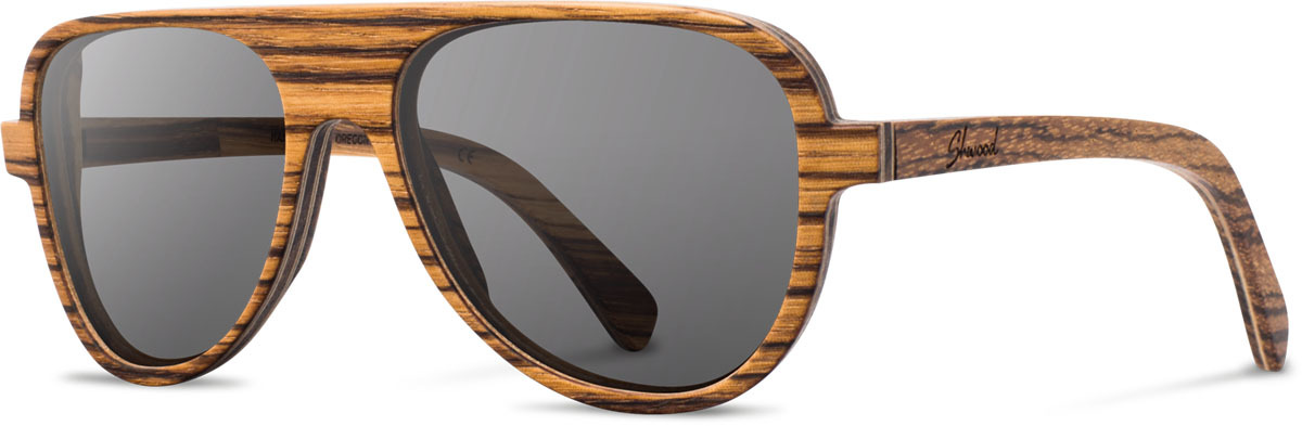 Shwood wood sunglasses medford zebrawood grey polarized left s 2200x800