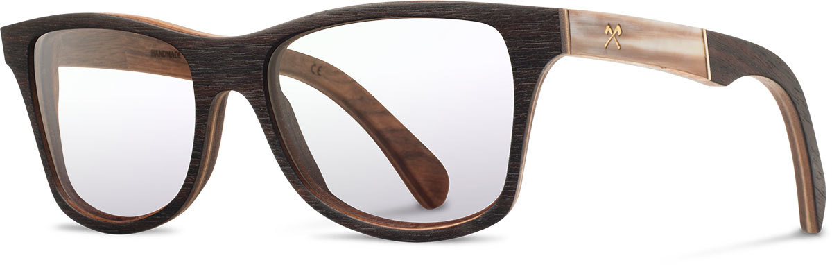 Shwood wood prescription glasses select canby ebony horn left s 2200x800