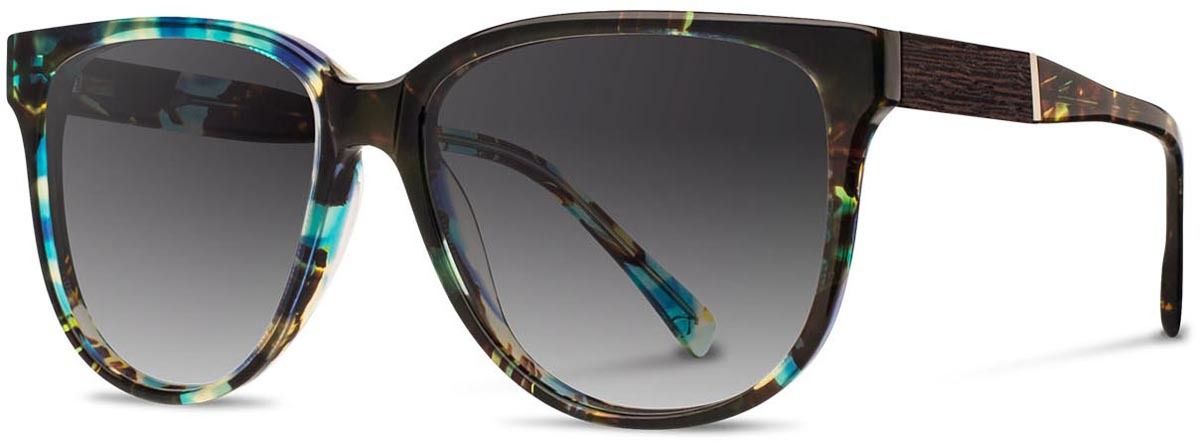 Shwood acetate wood womens sunglasses mckenzie blue opal ebony gry fade left s 2200x800