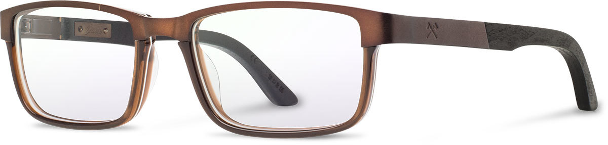 Shwood titanium acetate wood prescription glasses fremont antique bronze black dark walnut left s 2200x800