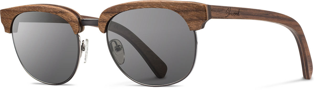 Shwood wood sunglasses original eugene walnut silver grey left s 2200x800