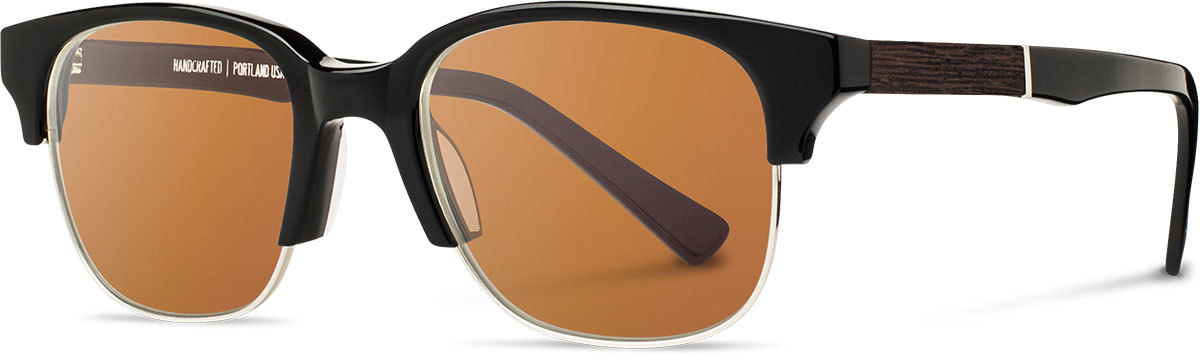 Shwood acetate wood prescription glasses newport black silver ebony brown polarized left s 2200x800