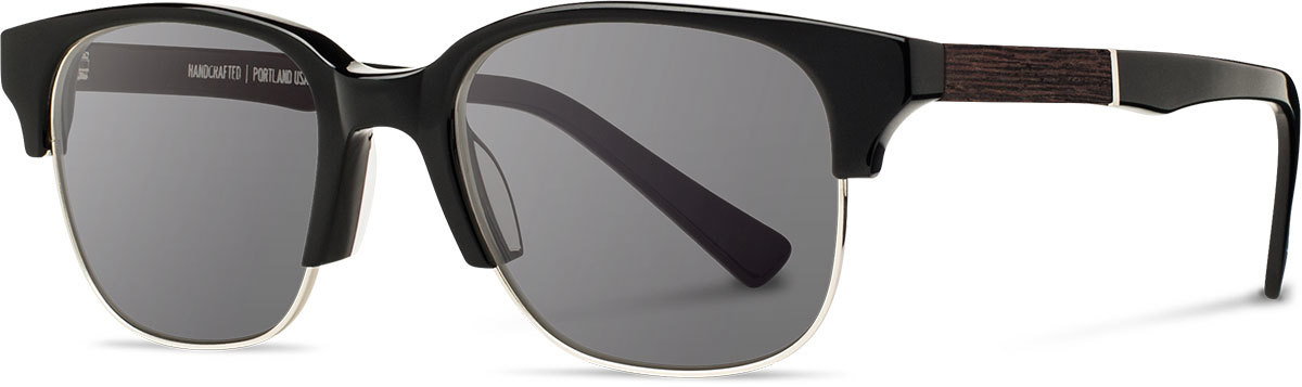 Shwood acetate wood prescription glasses newport black silver ebony grey polarized left s 2200x800