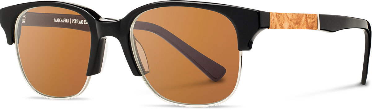 Shwood acetate wood prescription glasses newport black silver maple burl brown polarized left s 2200x800